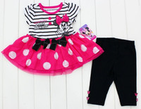 Wholesale Baby Girls Minnie Outfits M M M Toddlers Set Short Sleeve Top Dress Shirt With Bow And Pants Leggings piece Suits