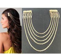 Wholesale Punk Style Long Alloy Tassel Head Chain HeadBands Gold Sliver Color Women Long Headbands
