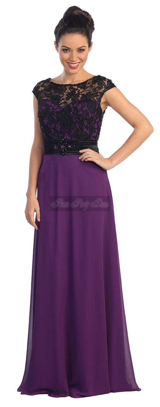 Modest Cap Sleeve Black Lace Elegant Purple Long Prom Dresses ...
