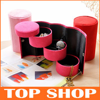 Jewelry Boxes jewellery gift boxes - Jewelry Gift Boxes Quality Velvet Jewelry Box Three Layers Round Portable Multi Function Storage Boxes Jewellery Boxes And Packaging ZB1002