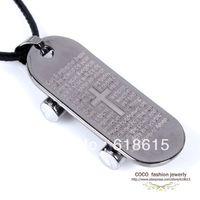 Wholesale High quality fashion jewelry steel titanium cross skateboard pendant necklace snake stripe leather chain unisex