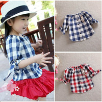 Girl Summer Standard 2014 Summer Baby Girl Shirts Lattice Shirts Children Clothing Kids Short Sleeve Cotton T-Shirts Bow Girls Tee Red Shirts 2 Color
