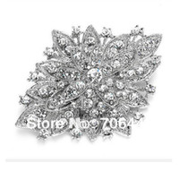 Wholesale Dark Silver Plated Clear Rhinestone Crystal Diamante Large Flower Vintage Bouquet Brooch