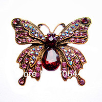 Wholesale 2 quot Vintage Butterfly Brooch Antique Gold Tone Lilac Rhinestone Crystal Diamante Jewelry Gift Pin for Mom
