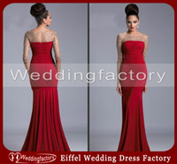 Wholesale 2014 Sexy Mother of the Bride Dresses Red Mermaid Sheer Neck Ruched Chiffon Evening Prom Gowns with Illusion Sleeves and Crystals