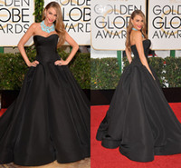 Wholesale 2014 New Arrival Black Taffeta Ball Gown Sweetheart Strapless Sleeveless Open Back Floor Length Ruffle Prom Dresses