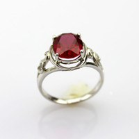 Wholesale 925 Silver Created x10mm Oval Ruby Cubic Zircon and CZ Diamonds Ring Size