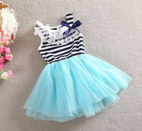 Summer lace bow - 8pcs Melee Girls Summer Tutu Lace Dresses baby clothing Striped dresses kids cotton lace bow dresses EMS FEDEX DHL to AU US UK FR NL CA
