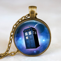 Pendant Necklaces glass jewelry box - Glass cabochon necklace Doctor who tardis space necklace doctor who police box tardis necklace tardis jewelry Glass Dome Necklace wholesa