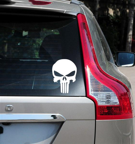 The Punisher Skull Funny Vinyl Decals Guns Truck Car Window Wall - Truck windshield decals