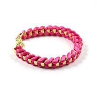 Cheap Girls Women Lady Handmade Gold Tone Chain Twine Rope Bracelet Bangle ROSE RED