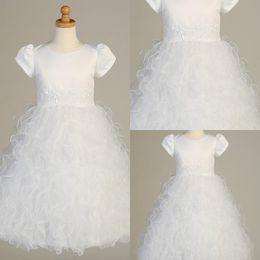 Wholesale Ball Gown Jewel Sash Tiered Ruffls Floor Length White Tutu Organza Flower Girl Christening Gowns Kids First Communion Dresses DL1310916