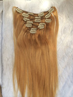 Wholesale Light Brown COlor Each Set Natural Straight Clip In hair extensions g per set