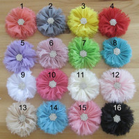 Wholesale Chiffon Flower With Diamond For Baby Headbands Hair Clips Girls Corsage Flower Hair Accessories Shabby Flowers DIY Photography props