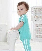 Unisex Summer Short wholesale--2014 summer New baby clothing sets boy and girl sport sets 2pcs set shirt+pants baby clothes