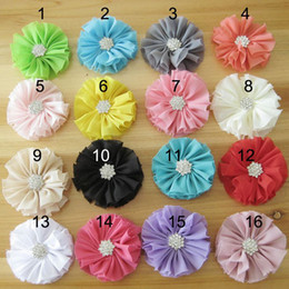 Chiffon Flower With Diamond For Baby Headbands Hair Clips Girls Corsage Flower Hair Accessories Candy color Flowers DIY Photography props