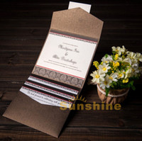 Wholesale Brown Pocket Wedding Invitations Card With RSVP Free Personalized Customized Printing invitation cards NK