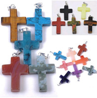 Wholesale 24pcs Mix Natural Stone Cross Necklace Pendant High Quantity N13