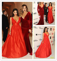 Reference Images V-Neck Taffeta kim kardashian Red Celebrity Dresses at The Academy Awards 2014 Empire Waist Deep V Neck Floor Length Taffeta Evening Dresses 86th Oscar