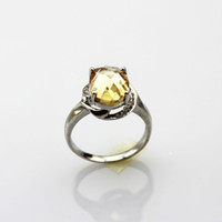 With Side Stones Women's Gift Sterling Silver 8x10mm Oval Citrine Cubic Zircon Ring