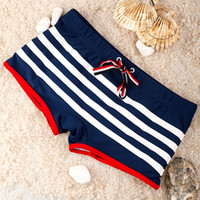 Wholesale 2014 Man Fashion Swimwear Men s Swimming Trunks Sexy Navy Stripe Shorts Boxers Sports Suit Men Swimsuit