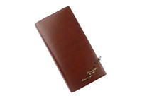 Mens Wallet Brown Genuine Leather Long Purse Billfold #24571