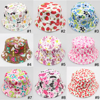 Boy Summer Visor Hot Sale Cute Cartoon printed picture kid girl cap lovely sun hat Colorful Baby Bucket hats canvas children beanie 27 design available
