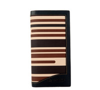 Ladies Wallet PU Leather Stripe Long Purse Billfold #24520