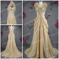 Sweetheart apple party decorations - 2016 plus size prom dresses A line Sweetheart Chapel Train Chiffon Prom Dress Sequined Flower Decorations party dresses