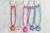 Polymer Clay FIMO american polymers - FREE sets Handmade Polymer Clay FIMO flower Rhinestone Silk chain necklace earrings New Sexy Fashion Women Jewelry nx0010