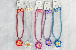 Wholesale FREE sets Handmade Polymer Clay FIMO flower Rhinestone Silk chain necklace earrings New Sexy Fashion Women Jewelry nx0010