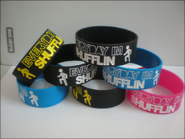 50PCS Lot American Pop Band LMFAO Party Silicone Wristband Everyday I am Shuffling 1 Inch Wide Bracelet