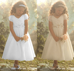 Wholesale Princess A line V neck Short Sleeve Pleat Bead Tea Length White Organza Flower Girl Christening Gowns First Communion Dresses DL1310925