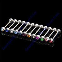 Wholesale Crystal Ball Tongue Bar Ring Barbell Body Piercing Steel Tongue Bars New
