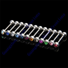 Unique Tongue Bars Jewelry Drop Shipping 100pcs Crystal Ball Tongue Bar Ring Barbell Body Piercing Steel Tongue Bars 2016 New Wholesale Hot