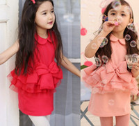 Wholesale Pre sell Summer Kids Clothing Children Dresses Girls Red Pink Big Bowknot Ruffle Doll Collar Chiffon Lace Cotton Sundress Dress C1409