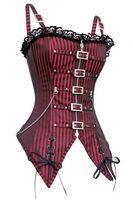 Wholesale Plus Size S XL Steampunk Chain Brocade Straps Corset Women Lace Up Red Black Striped Gothic Punk Overbust Corset Waist Slim Body Shaper