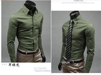 Formal uyuk - Men business shirts UYUK pure color Men shirts Fashion color candy man leisure long sleeved shirt