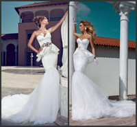 Trumpet/Mermaid Reference Images Sweetheart Julie Vino 2014 Mermaid Wedding Dresses Sweetheart Backless Sash Sweep Train Peplum Lace Spring Summer Beach Bridal Dress Garden