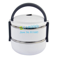 Ceramic Dinnerware Sets Eco-Friendly White Double Layer Stainless Steel Children Lunch Box 1.4L Keep Warm Food Container For Kids 15039