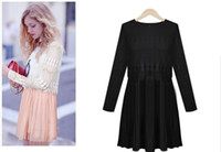 Casual Dresses V_Neck A Line 2014 Pin Up Women Chic lace crochet Dress Long Sleeve Chiffon Pleated Vestidos Casual Cute Woman Pullover Mini Pink Clothes 6140