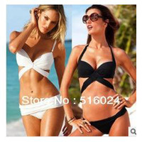 Bralette Sets Cotton Normal Two pieces Bikini for women black&white color, Sexy Style vintage Swimming! High quality New Arrive 2014 Free shipping