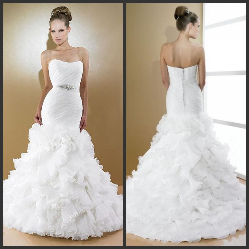 2014 white mermaid wedding dresses organza sweetheart for Tulle bottom wedding dress