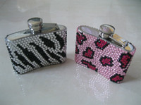 Wholesale 2016 Hot Fashion oz Stainless Steel Animal Print beaded hip flask