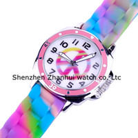 Wholesale Genius First high quality Kids Watches Unisex Rubber Rainbow Soft silicone strap Children Watches