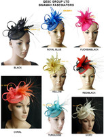 Wholesale Feather Sinamay Hat for wedding party and kentucky derby