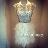Wholesale Bling Upscale A Line Short Cocktail Dress Formal Gown Off the Shoulder Crystals Beading Bodice With Feather Skirt Sleeveless Stunning