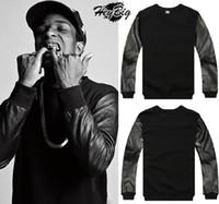 Cotton Cardigan Hoodies,Sweatshirts West Coast Hip-Hop Style Sweatshirts Pullover PU Leather Sleeve