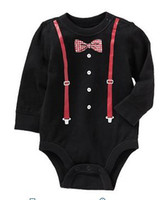 Girl Summer 100% Cotton Wholesale - 2014 doomagic black gentleman Rompers Body Suit Baby One-Piece Rompers Long Sleeve Romper Onesies -DZY770H