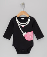 Wholesale doomagic black Little lady Rompers Body Suit Baby One Piece Rompers Long Sleeve Romper Onesies DZY773H